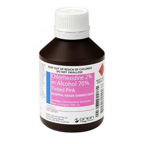 Chlorhexidine 2 in alcohol 70 tinted pink 100ml for Hibiclens for tattoos