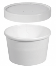 CA-KH8-WHT Denture Bowl Container White Paperboard PE Lined + Lid 237mls