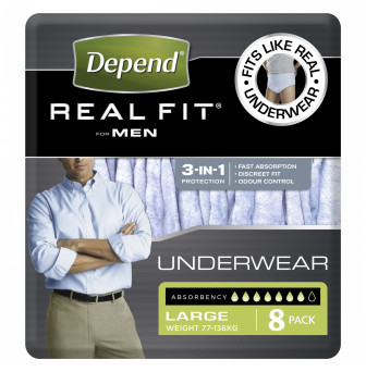 Depend Real Fit For Men Underwear, Heavy Absorbency, Large, 8 Pants-1