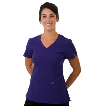 SCR454NBS Excel Accuflex 4-Way Stretch Scrubs Top Style 454 Navy Blue Small