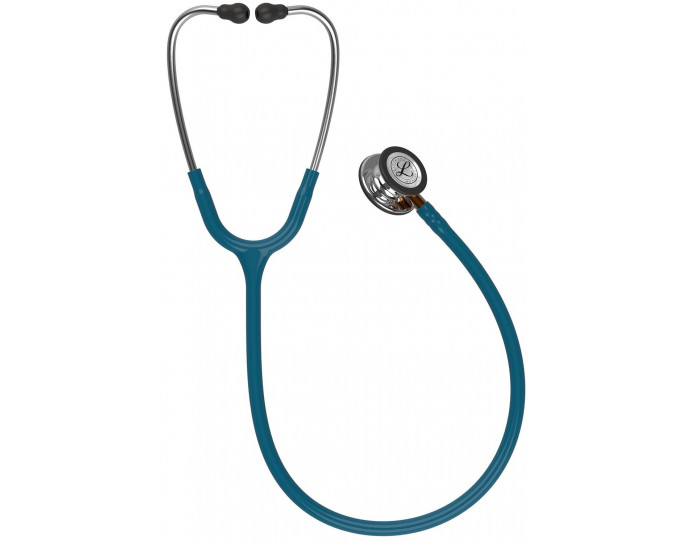 5874-3M Stethoscope Littmann Classic III Caribbean Blue with Orange Stem and Mirror Finish