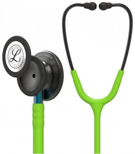 5875 3M Stethoscope Littmann Classic III Lime Green with Blue Stem and Smoke Finish