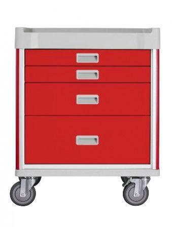 MX28EMG-CT Milano Emergency Cart Base Unit Red - Drawers 2,1,1