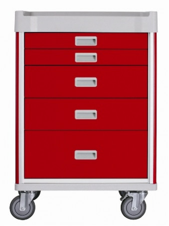 MX34EMG-CT Milano Emergency Cart Base Unit Red - Drawers 2,2,1