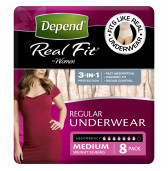Depend Real Fit For Women Underwear, Heavy Absorbency, Medium, 8 Pants-1