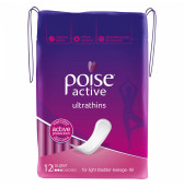 Poise Active Ultrathin Pads, Super,Light-Moderate Absorbency, 12 Pads-1