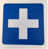QSI3683 First Aid sign White cross on Blue Background.JPG